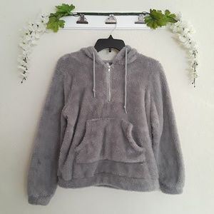 "Tops - Gray sz:M Fluffy ""Teddy Bear"" Hoodie Pullover"